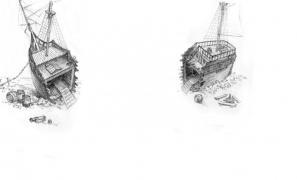 Корабль разломанный на площадке-1