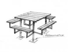 Скамейки со столом 2-1